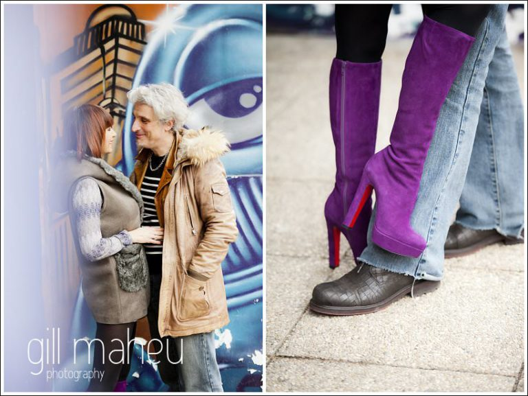bride to be with the most amazing purple thigh length Christian Louboutin boots on engagement shoot at the