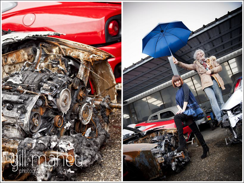 stylish couple on fashion shoot style engagement shoot in car breakers yard in Geneva by wedding and portrait photographer Gill Maheu Photography