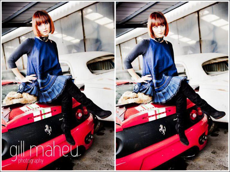 session engagement ultra stylé  - jeune femme assise sur un ferrari à la casse voiture de Genève par photographe de mariage et portrait Gill Maheu Photography