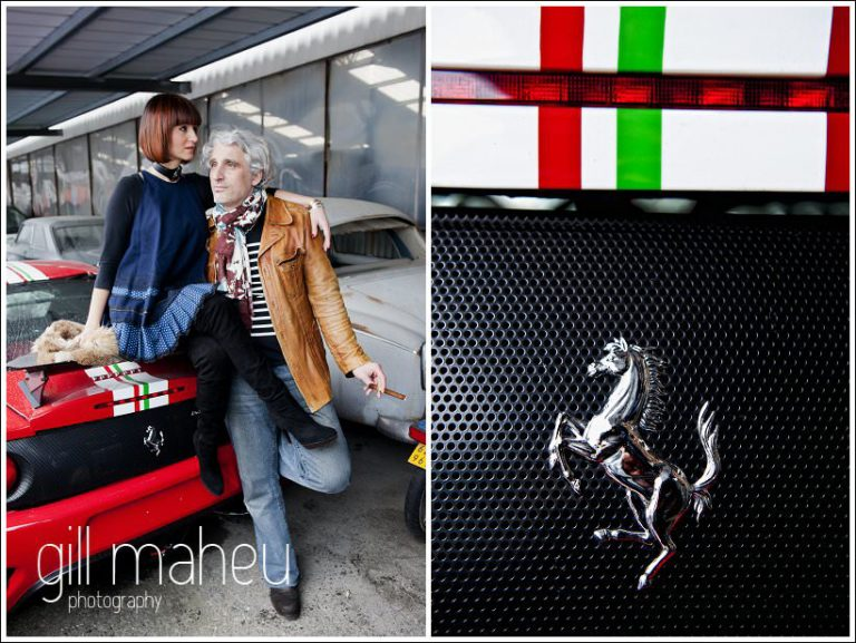 sitting on the back of a broken ferrari - fabulous couple on ultra stylish engagement shoot in car breakers yard in Geneva by portrait and wedding photographer Gill Maheu