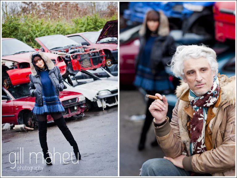 gorgeous couple  at ultra stylish engagement shoot at Geneva Car Breakers yard by Gill Maheu Photography , photographe de mariage