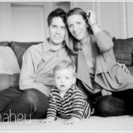 black and white portrait of a young family by lifestyle and portrait photographer Gill Maheu Photography