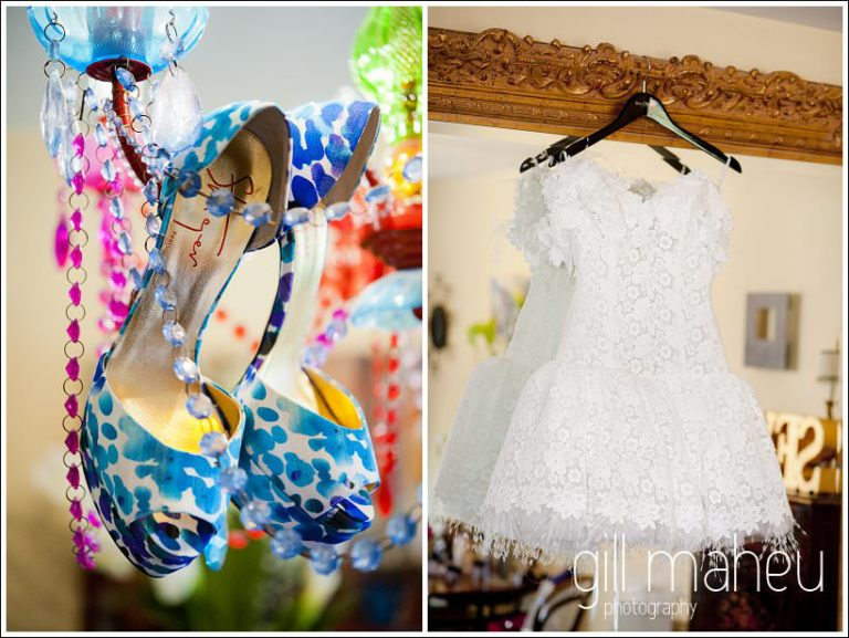close up wedding details Kurt Geiger shoes and Max Chaoul dress by Gill Maheu Photography, photographe de mariage
