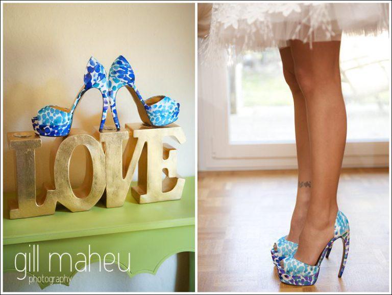 close up wedding details Kurt Geiger shoes by Gill Maheu Photography, photographe de mariage