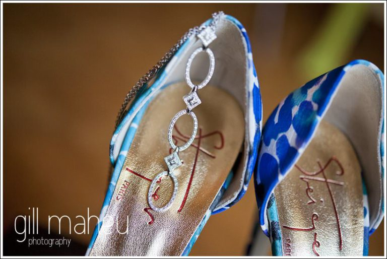close up wedding details Kurt Geiger shoes and wedding diamante necklace by Gill Maheu Photography, photographe de mariage