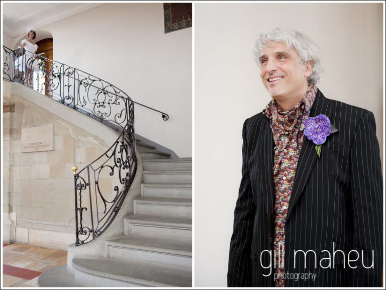 groom waiting for his bride at bottom of stairs for civil ceremony at Mairie de Dardagny near Geneva by Gill Maheu Photography , photographe de mariage