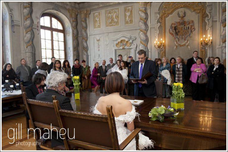 mayor giving civil wedding ceremony at Mairie de Dardagny near Geneva by Gill Maheu Photography, photographe de mariage