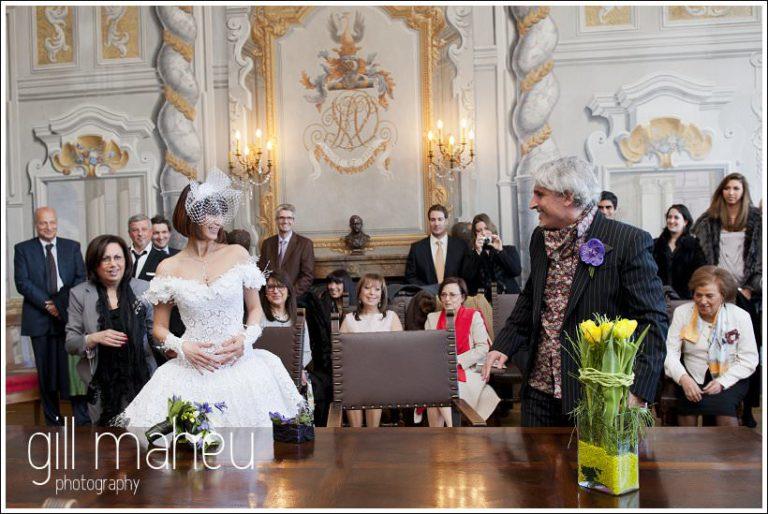 wide shot of whole wedding room at civil wedding ceremony at Mairie de Dardagny near Geneva by Gill Maheu Photography, photographe de mariage
