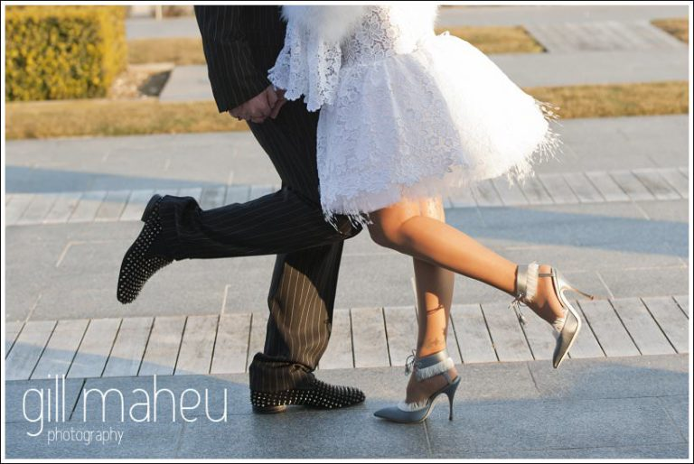 close up on wedding couple shoes his Louboutins and her Manolo Blahniks at Jiva Hills Geneva wedding by Gill Maheu photography, photographe de mariage