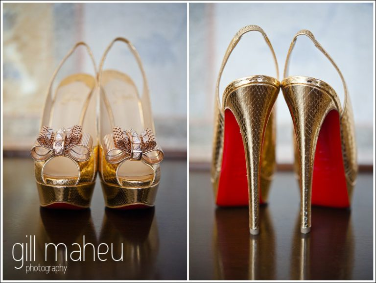 close up of stunning gold stiletto wedding heels by Christian Louboutin by Gill Maheu Photography, photographe de mariage