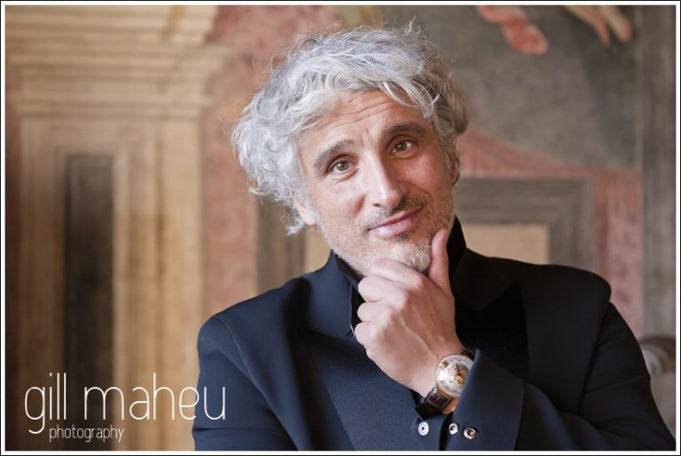 portrait of groom at Chateau de Bagnols wedding by Gill Maheu Photography, photographe de mariage