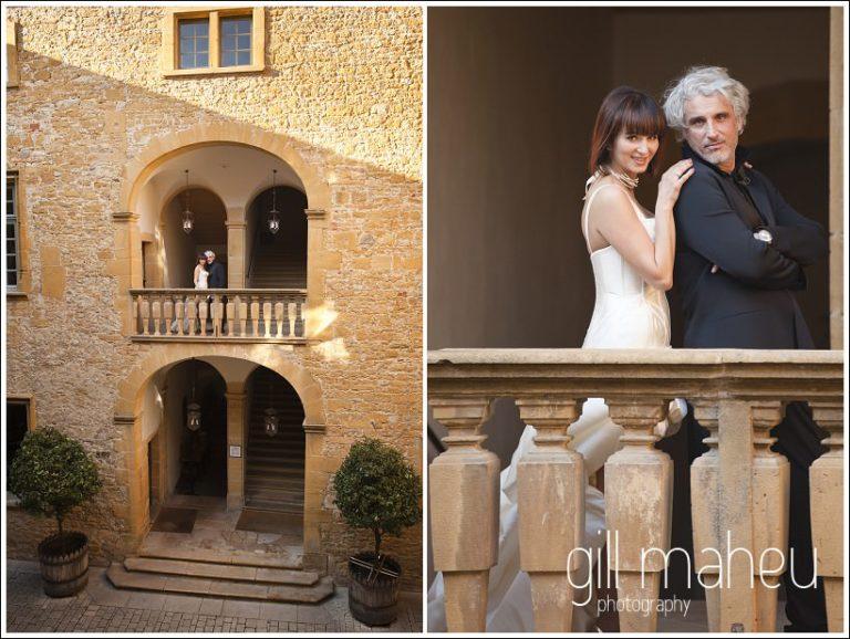 bride and groom on Romeo & Juliette balcony at Chateau de Bagnols wedding by Gill Maheu Photography, photographe de mariage