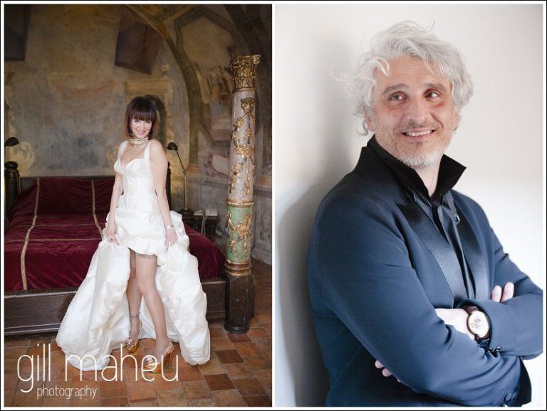 full length bridal couple portraits at Chateau de Bagnols wedding by Gill Maheu Photography, photographe de mariage