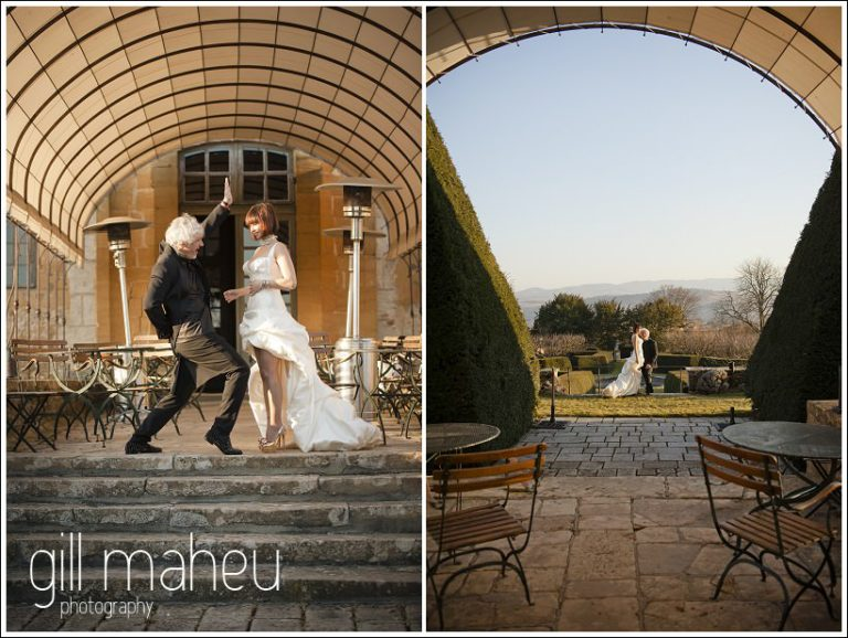 rocking out the Louboutins on the steps at Chateau de Bagnols wedding by Gill Maheu Photography, photographe de mariage