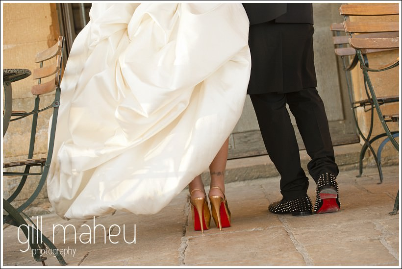 close up of Max Chaoul dress and his and hers wedding Louboutins at Chateau de Bagnols wedding by Gill Maheu Photography, photographe de mariage