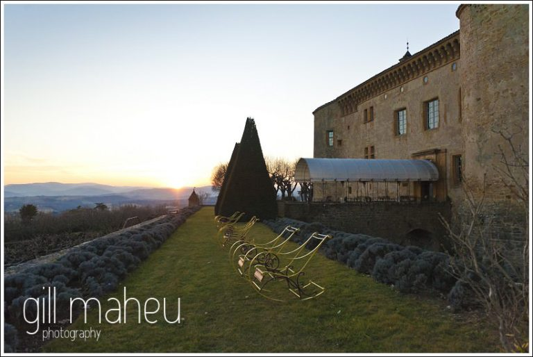 sunset outside in the grounds of Chateau de Bagnols wedding by Gill Maheu Photography, photographe de mariage