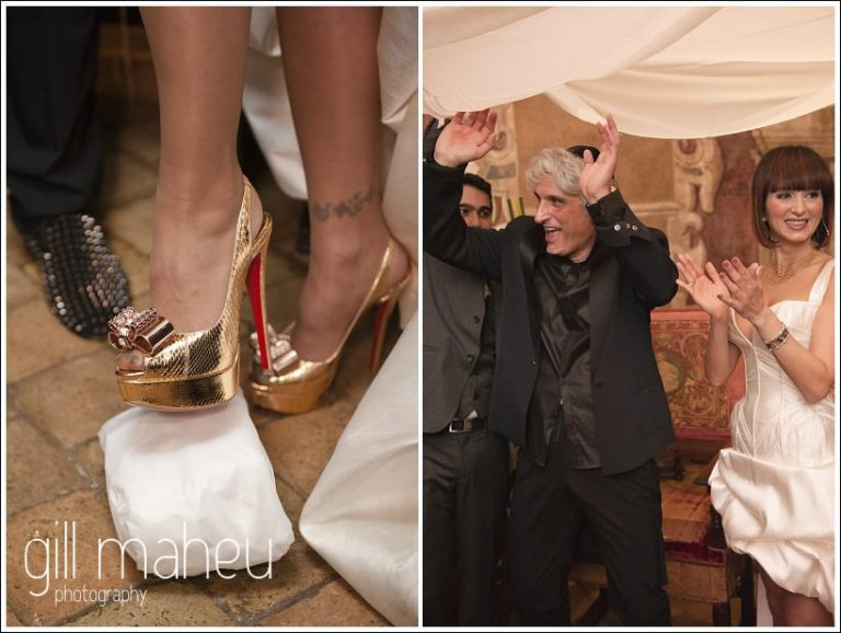 breaking the glass in Louboutins under the chuppah at Chateau de Bagnols wedding by Gill Maheu Photography, photographe de mariage