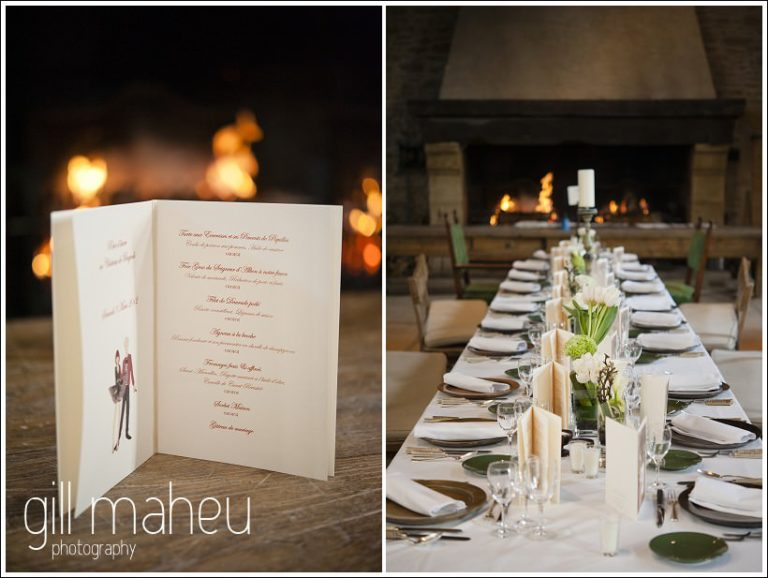 wedding dining hall details at Chateau de Bagnols wedding by Gill Maheu Photography, photographe de mariage