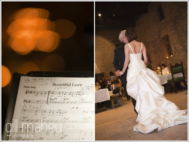 song details and first dance at Chateau de Bagnols wedding by Gill Maheu Photography, photographe de mariage