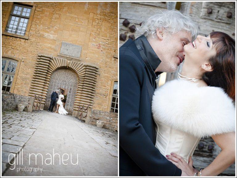 bridal couple portrait in front of castle doors at Chateau de Bagnols wedding by Gill Maheu Photography, photographe de mariage