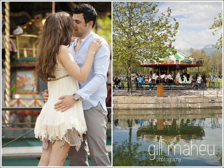 portraits of engagement couple in front of merry go round in Annecy by Gill Maheu Photography, photographe de mariage