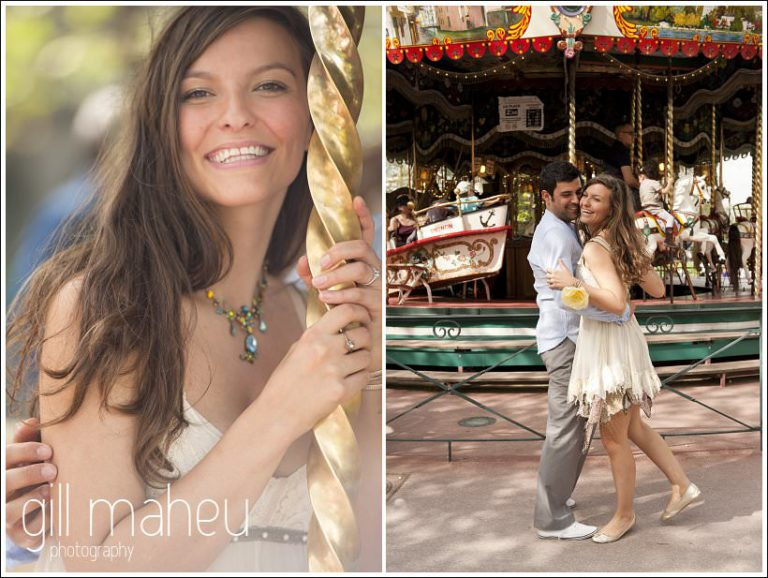 portraits of bride to be looking at camera from merry go round in Annecy by Gill Maheu Photography, photographe de mariage