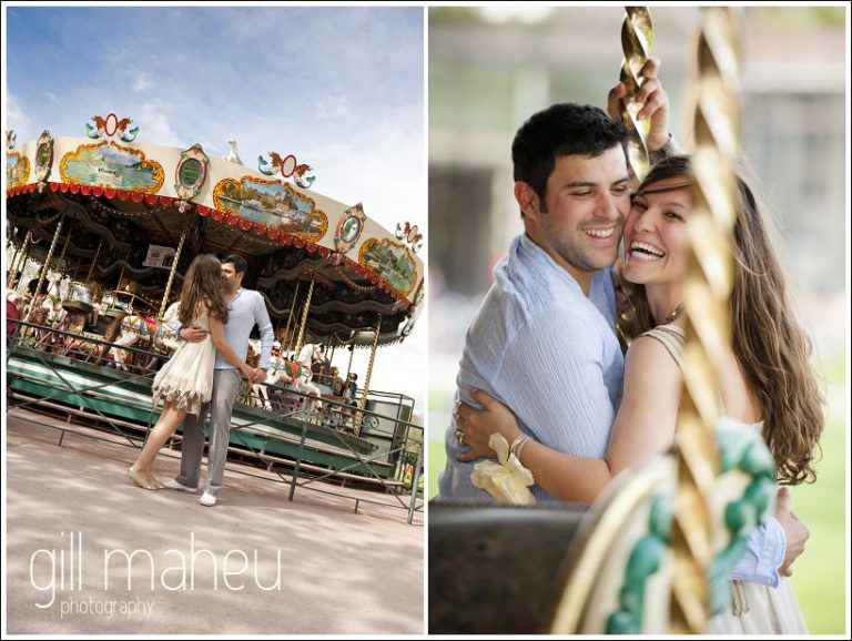 romantic engagement couple laughing on merry go round in Annecy by Gill Maheu Photography, photographe de mariage