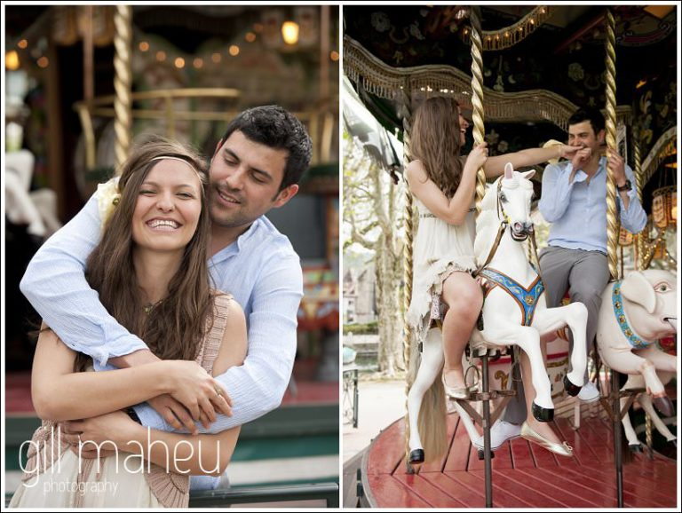 portraits of engagement couple cuddling in front of merry go round in Annecy by Gill Maheu Photography, photographe de mariage