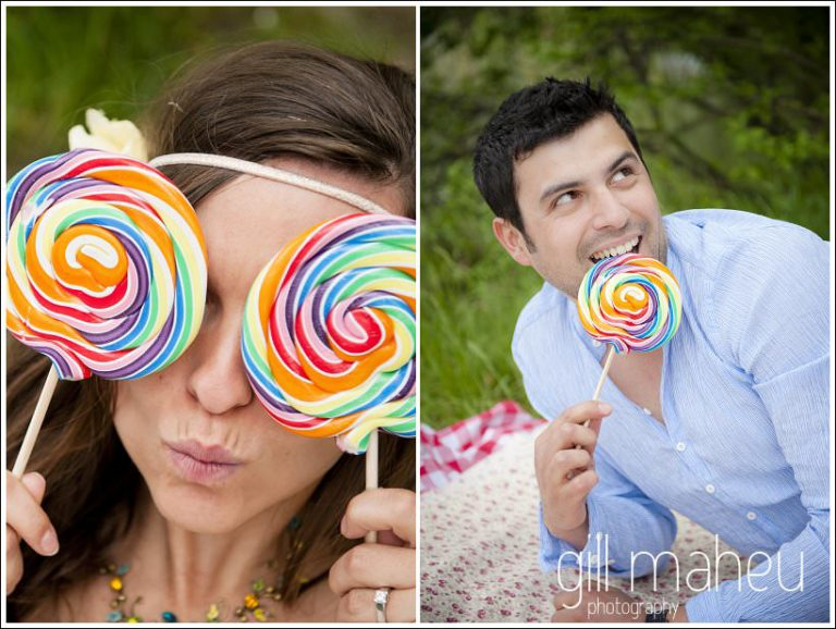 engagement session bride hiding face behind giant colourful lollipops by Gill Maheu Photography, photographe de mariage