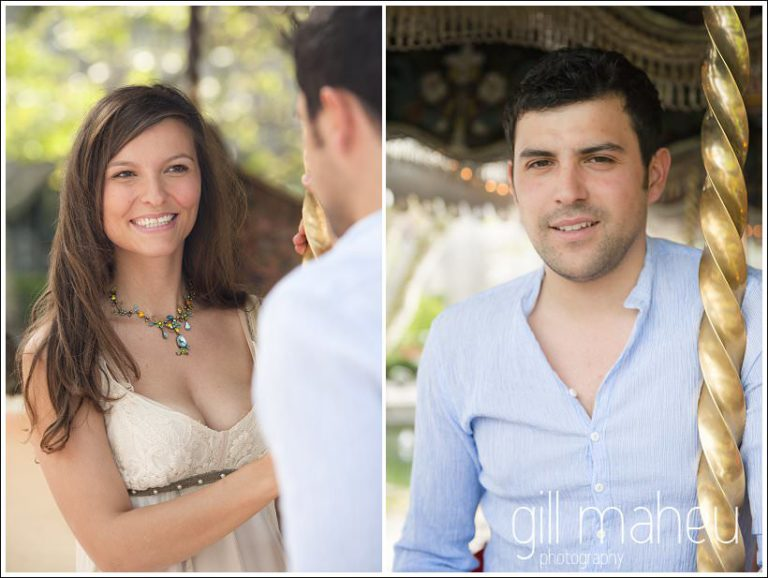 portraits of couple engagement session on merry go round in Annecy by Gill Maheu Photography, photographe de mariage