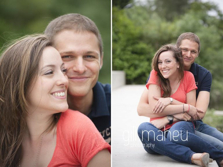 romantic phots of engaged couple cuddling by river bank near Geneva by Gill Maheu Photography - photographe seance engagement et mariage