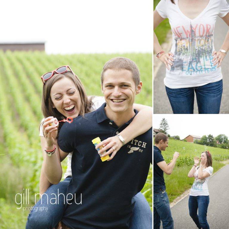 engaged couple laughing and blowing bubbles in vineyard near Geneva by Gill Maheu Photography, photographe de mariage