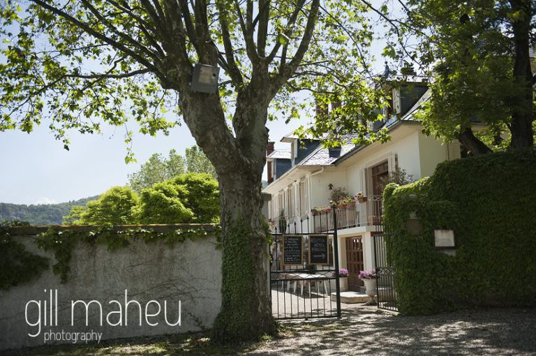 entrance to the Hotel Saint Pères above Chambéry by Gill Maheu Photography, photographe de mariage