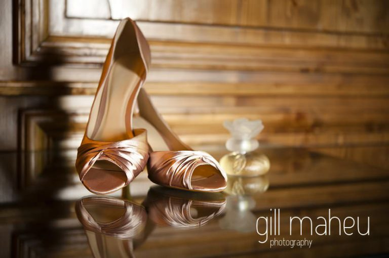 gold wedding shoe details at Hotel Saint Pères above Chambéry by Gill Maheu Photography, photographe de mariage