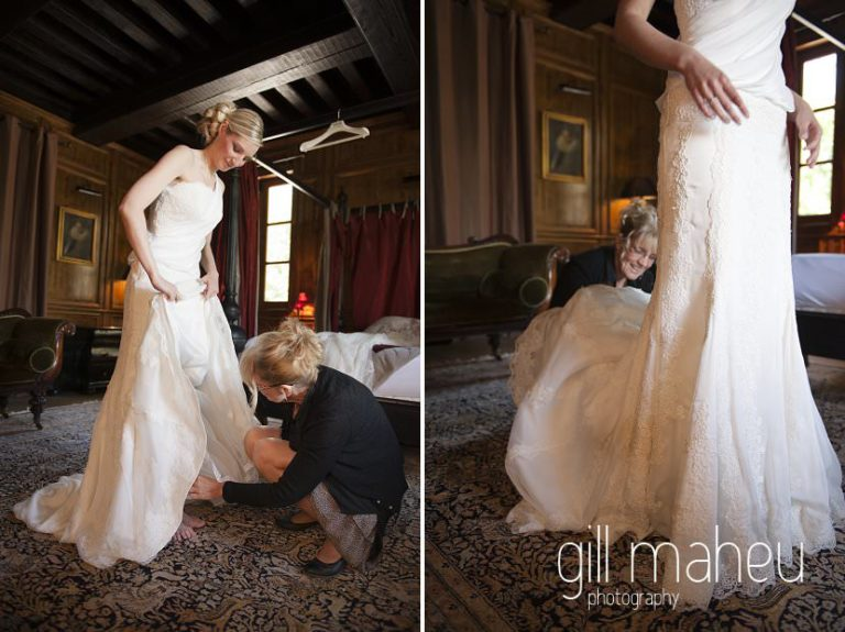 bride putting on gold wedding shoes at Hotel Saint Pères above Chambéry by Gill Maheu Photography, photographe de mariage