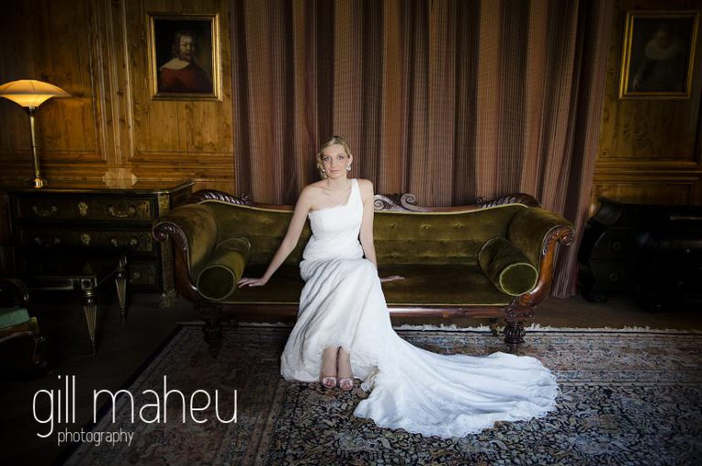 bridal portrait of Bride on chaise longue at Hotel Saint Pères above Chambéry by Gill Maheu Photography, photographe de mariage