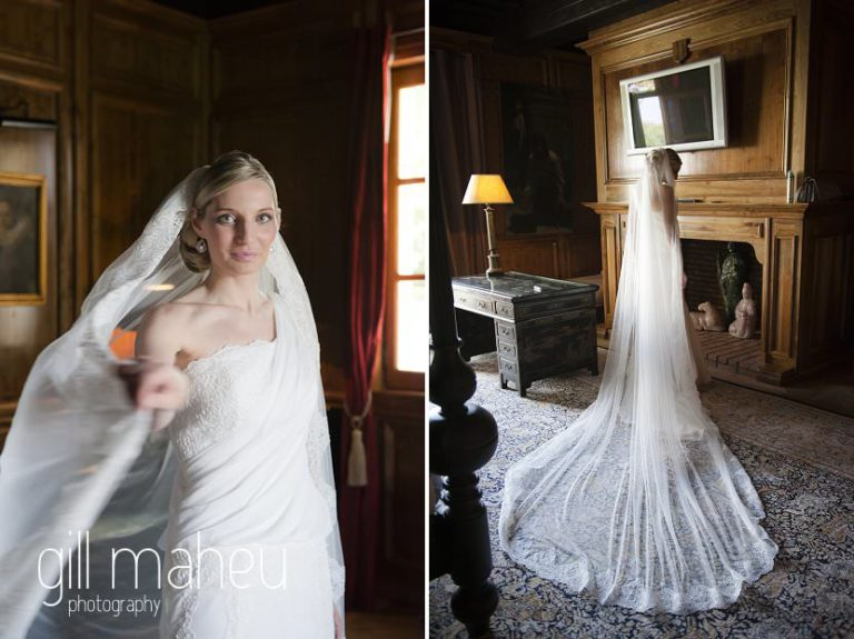 full length portait of bride and stunning cathedral veil at Hotel Saint Pères by Gill Maheu Photography, photographe de mariage