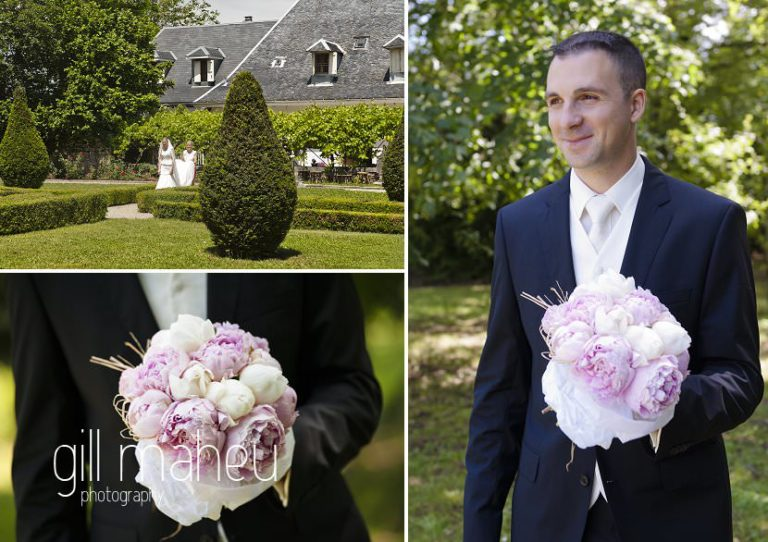 Groom waiting in gardens with wedding bouquet for first look with beautiful bride at Hotel Saint Pères by Gill Maheu Photography, photographe de mariage