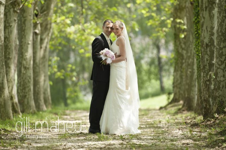 first look of bride and groom in the tree avenue at Hotel Saint Pères by Gill Maheu Photography, photographe de mariage