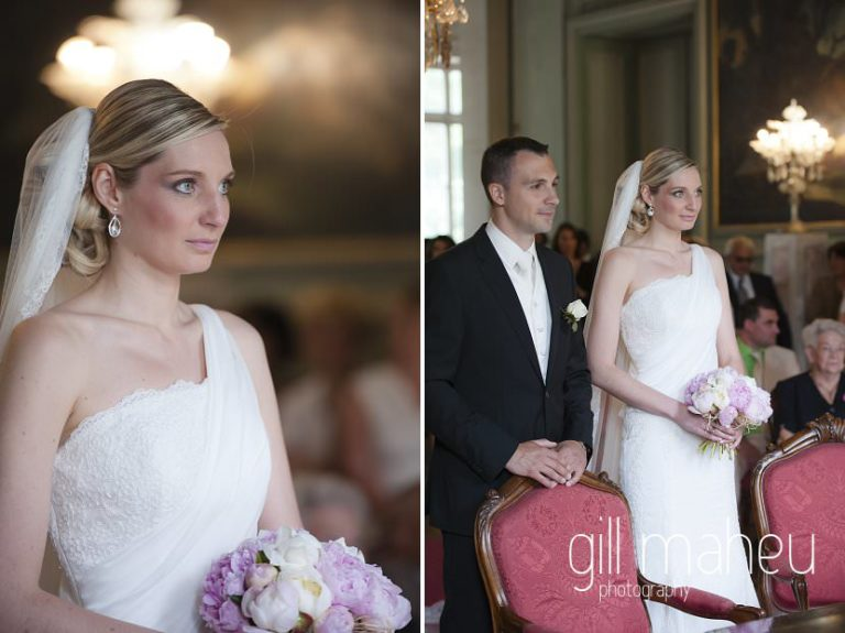 happy couple standing in civil wedding ceremony at Chateau Parc du Buisson Rond, Chambery, Hotel Saint Pères wedding by Gill Maheu Photography, photographe de mariage