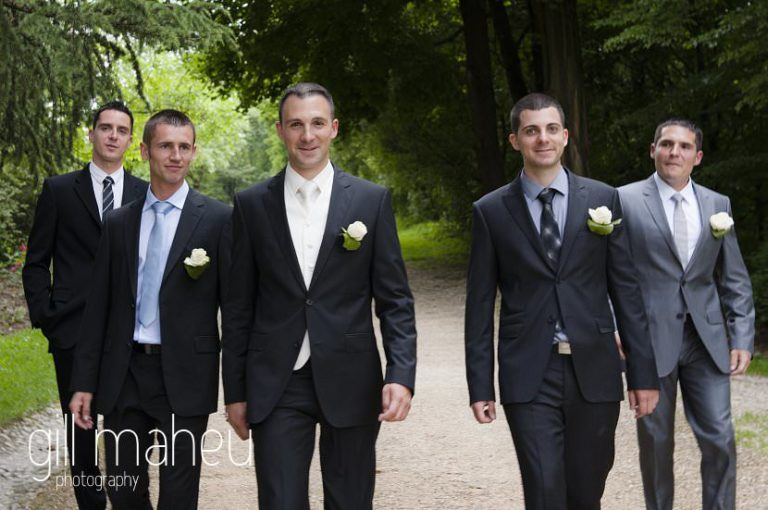 groom and groomsmen walking towards the camera, Hotel Saint Pères wedding by Gill Maheu Photography, photographe de mariage