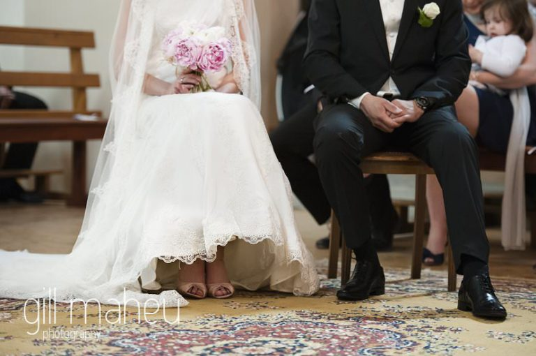 details of bride and groom seated in church,  Hotel Saint Pères wedding by Gill Maheu Photography, photographe de mariage