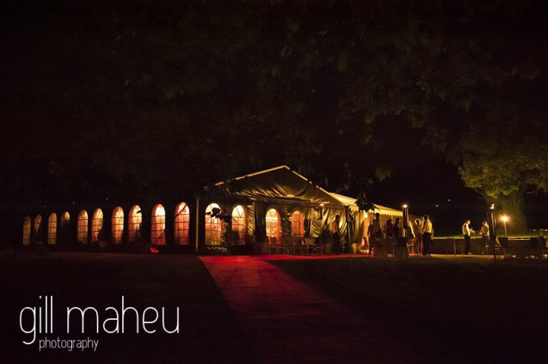 night shot of beautifully lit marquee at Hotel Saint Pères by Gill Maheu Photography, photographe de mariage