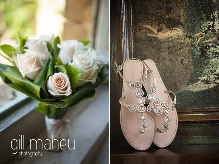 wedding details of beautiful simple wedding bouquet and wedding shoes at Chateau de Bagnols wedding by Gill Maheu Photography, photographe de mariage