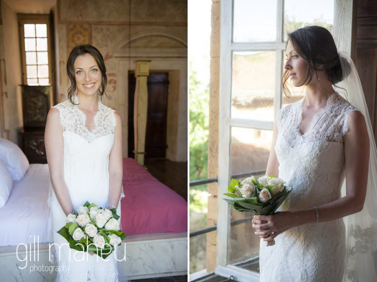 Beautiful bridal portraits at Chateau de Bagnols wedding by Gill Maheu Photography, photographe de mariage
