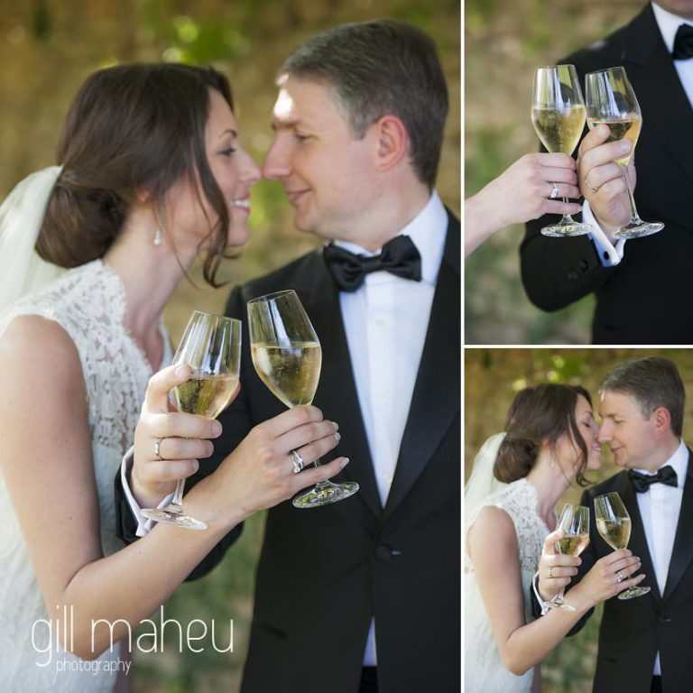 bride and groom sipping champagne after wedding ceremony at Chateau de Bagnols wedding by Gill Maheu Photography, photographe de mariage