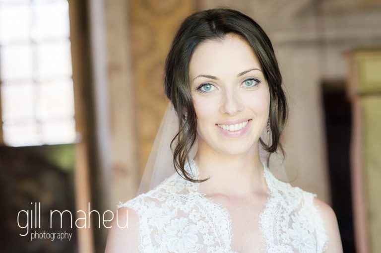bridal portrait before wedding ceremony at at Chateau de Bagnols wedding by Gill Maheu Photography, photographe de mariage
