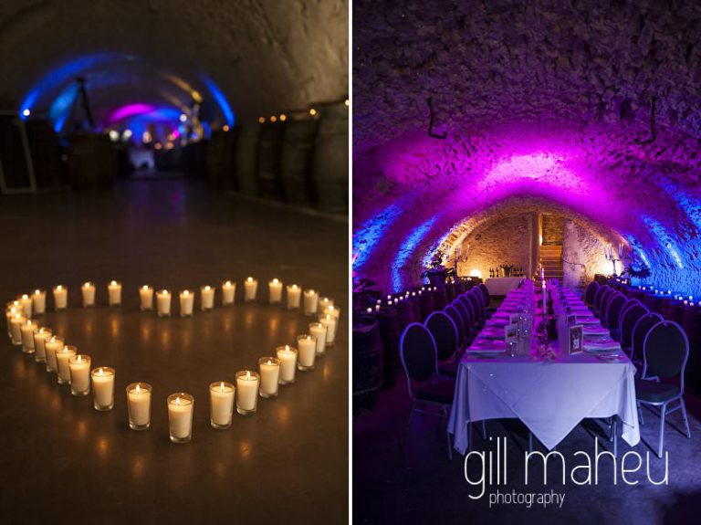 candle heart shape in front of evening celebrations at Chateau de Bagnols wedding by Gill Maheu Photography, photographe de mariage