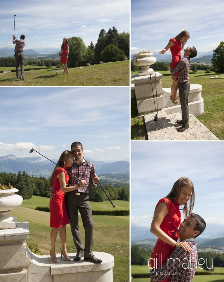 lifestyle portrait of newly wed couple playing golf at Chateau d'Avenieres near Annecy by Gill Maheu Photography, photographe de mariage et de famille