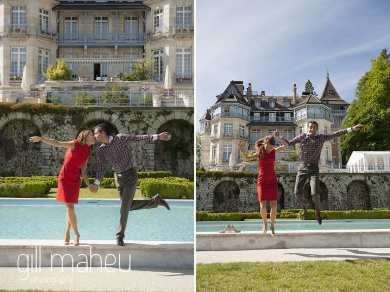 lifestyle portrait of newly wed couple kdancing in front of pool at Chateau d'Avenieres near Annecy by Gill Maheu Photography, photographe de mariage et de famille